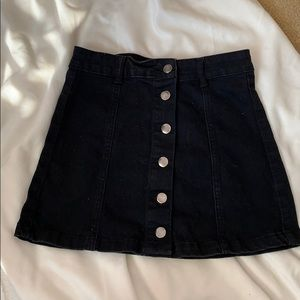 F21 | black button up denim skirt